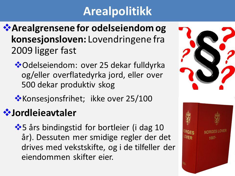 Arealpolitikk  Arealgrensene for odelseiendom og konsesjonsloven: Lovendringene fra 2009 ligger fast  Odelseiendom: over 25 dekar fulldyrka og/eller