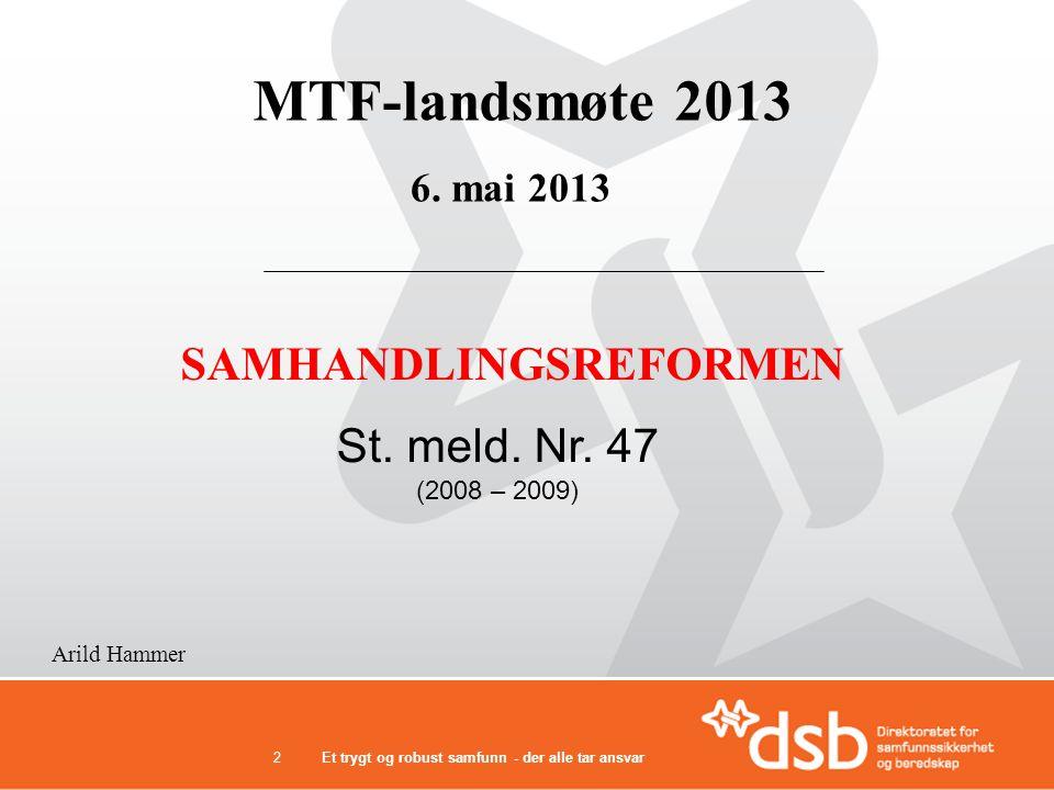 2 MTF-landsmøte 2013 SAMHANDLINGSREFORMEN 6. mai 2013 Arild Hammer St. meld. Nr. 47 (2008 – 2009)