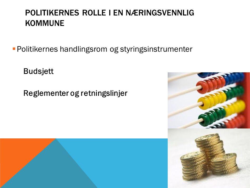  Politikernes handlingsrom og styringsinstrumenter Budsjett Reglementer og retningslinjer POLITIKERNES ROLLE I EN NÆRINGSVENNLIG KOMMUNE
