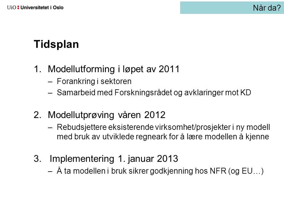 Tidsplan 1.Modellutforming i løpet av 2011 –Forankring i sektoren –Samarbeid med Forskningsrådet og avklaringer mot KD 2.Modellutprøving våren 2012 –R