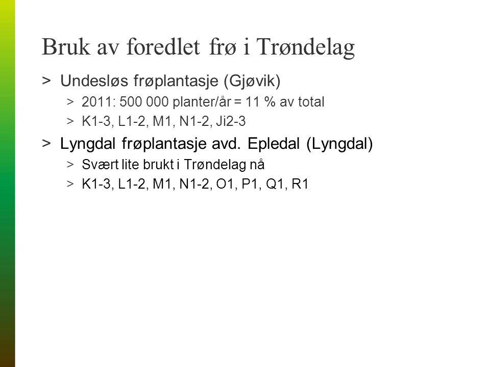 Bruk av foredlet frø i Trøndelag >Undesløs frøplantasje (Gjøvik) >2011: 500 000 planter/år = 11 % av total >K1-3, L1-2, M1, N1-2, Ji2-3 >Lyngdal frøplantasje avd.