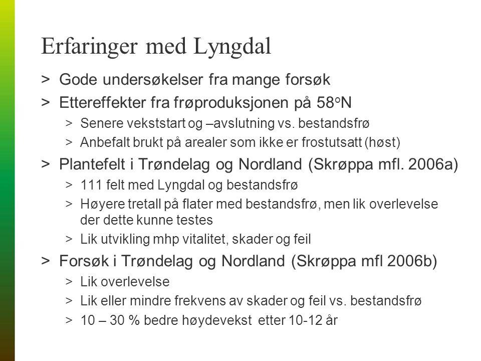 Erfaringer med Lyngdal >Gode undersøkelser fra mange forsøk >Ettereffekter fra frøproduksjonen på 58 o N >Senere vekststart og –avslutning vs.