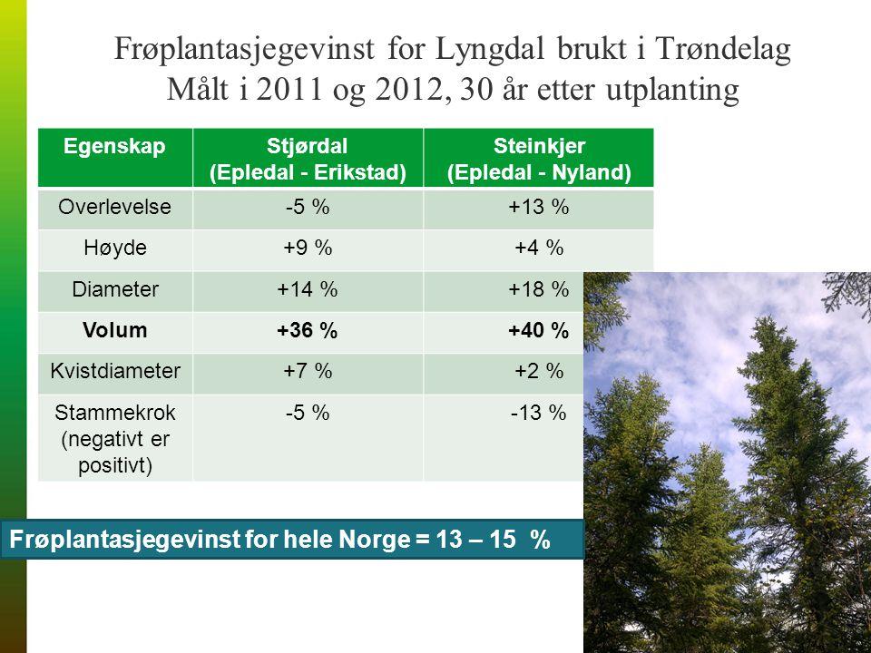 Frøplantasjegevinst for Lyngdal brukt i Trøndelag Målt i 2011 og 2012, 30 år etter utplanting EgenskapStjørdal (Epledal - Erikstad) Steinkjer (Epledal - Nyland) Overlevelse-5 %+13 % Høyde+9 %+4 % Diameter+14 %+18 % Volum+36 %+40 % Kvistdiameter+7 %+2 % Stammekrok (negativt er positivt) -5 %-13 % Frøplantasjegevinst for hele Norge = 13 – 15 %