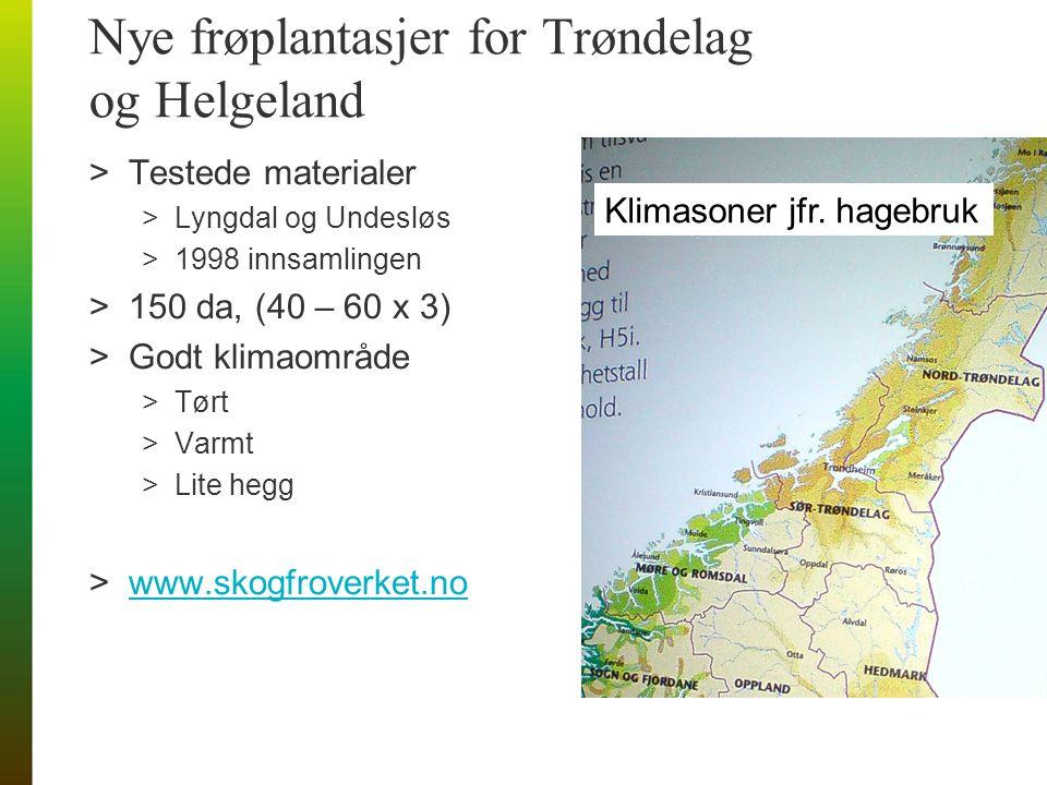 Nye frøplantasjer for Trøndelag og Helgeland >Testede materialer >Lyngdal og Undesløs >1998 innsamlingen >150 da, (40 – 60 x 3) >Godt klimaområde >Tørt >Varmt >Lite hegg >www.skogfroverket.nowww.skogfroverket.no Klimasoner jfr.