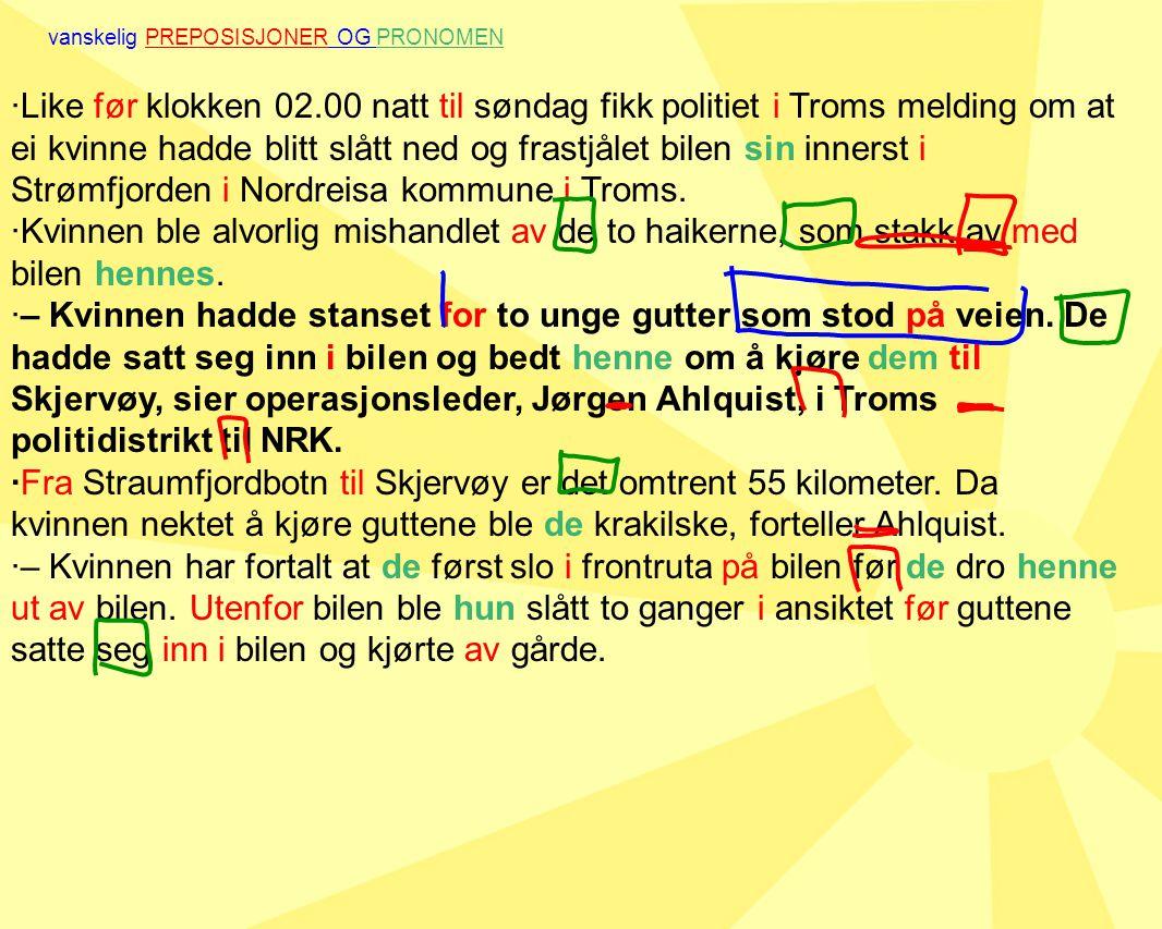 ·Like før klokken 02.00 natt til søndag fikk politiet i Troms melding om at ei kvinne hadde blitt slått ned og frastjålet bilen sin innerst i Strømfjorden i Nordreisa kommune i Troms.