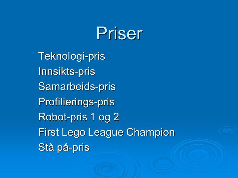 Priser Teknologi-prisInnsikts-prisSamarbeids-prisProfilierings-pris Robot-pris 1 og 2 First Lego League Champion Stå på-pris