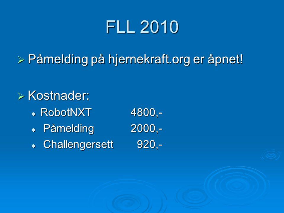 FLL 2010  Påmelding på hjernekraft.org er åpnet.