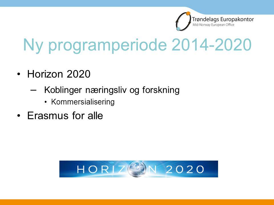 Ny programperiode 2014-2020 •Horizon 2020 – Koblinger næringsliv og forskning •Kommersialisering •Erasmus for alle
