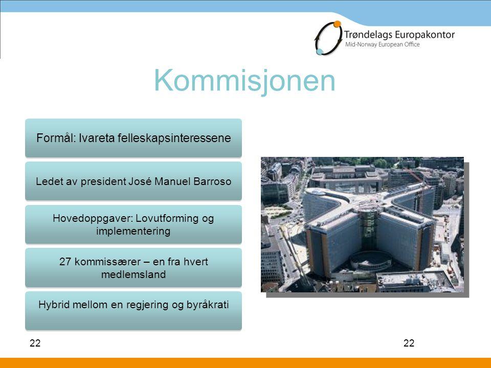 22 Kommisjonen 22 Formål: Ivareta felleskapsinteressene Ledet av president José Manuel Barroso Hovedoppgaver: Lovutforming og implementering 27 kommis