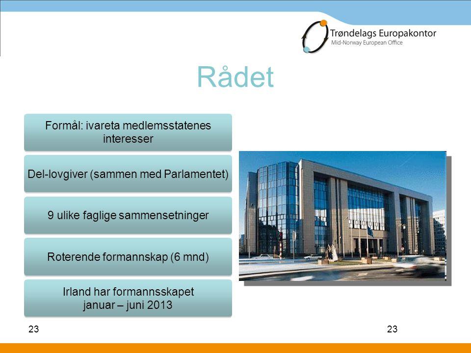 23 Rådet 23 Formål: ivareta medlemsstatenes interesser Del-lovgiver (sammen med Parlamentet) 9 ulike faglige sammensetninger Roterende formannskap (6