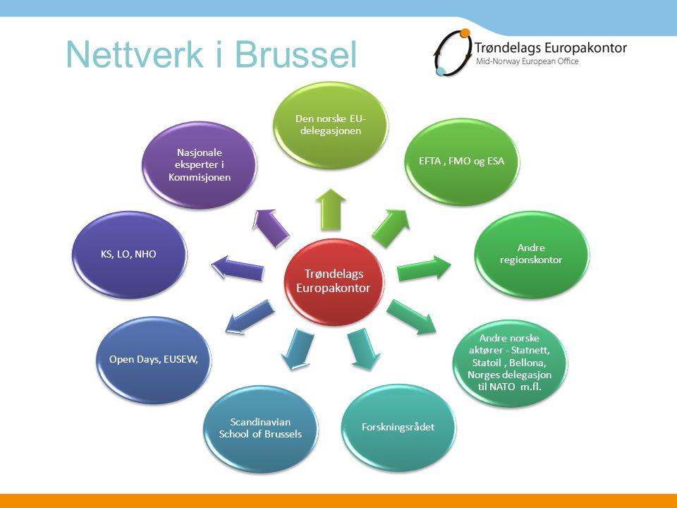 Arbeidsoppgaver Informasjon om EU og EØS •Hjemmeside og nyhetsbrev •Hjemmeapparat og samarbeidspartnere •Henvendelser Informasjon om prosjekt og program •Prosjektkalender •Hjemmeapparat og samarbeidspartnere • Partnersøk Studiebesøk og organisering av møter i Brussel •Legge opp faglig program •Presentere Trøndelag i Brussel •Praktisk tilrettelegging •Hospitering i Brussel Tilbake