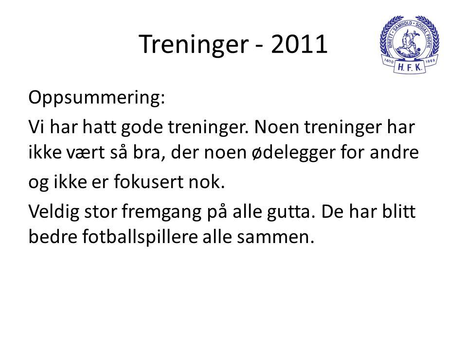 Treninger - 2011 Oppsummering: Vi har hatt gode treninger.
