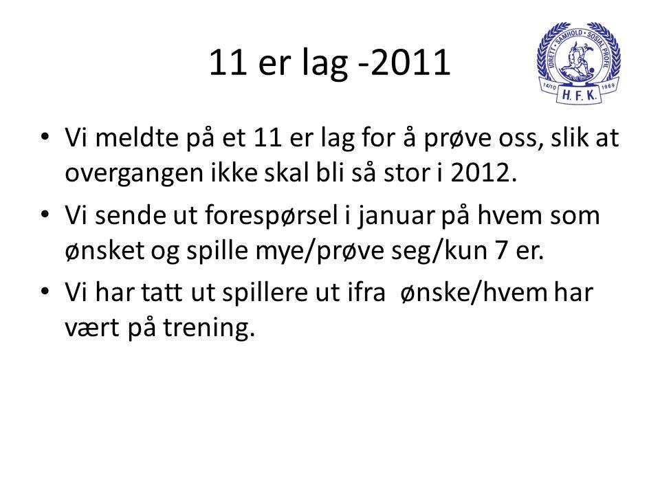 11 er lag -2011 • Vi meldte på et 11 er lag for å prøve oss, slik at overgangen ikke skal bli så stor i 2012. • Vi sende ut forespørsel i januar på hv
