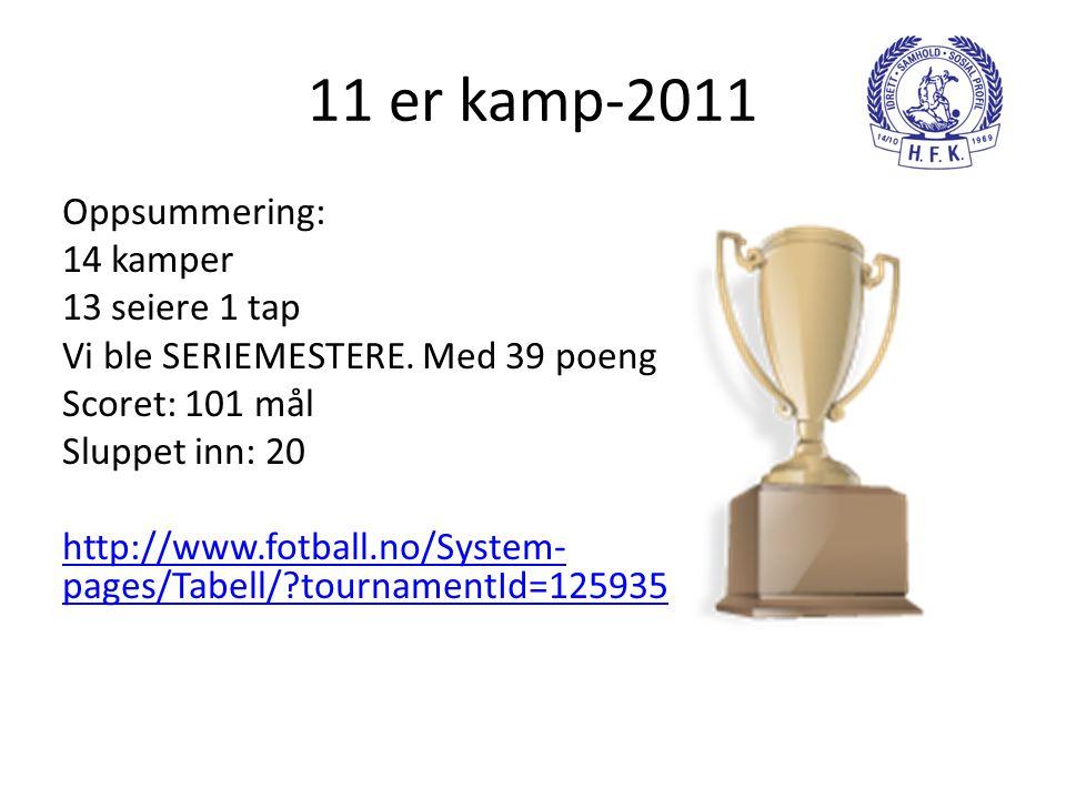 11 er kamp-2011 Oppsummering: 14 kamper 13 seiere 1 tap Vi ble SERIEMESTERE. Med 39 poeng Scoret: 101 mål Sluppet inn: 20 http://www.fotball.no/System