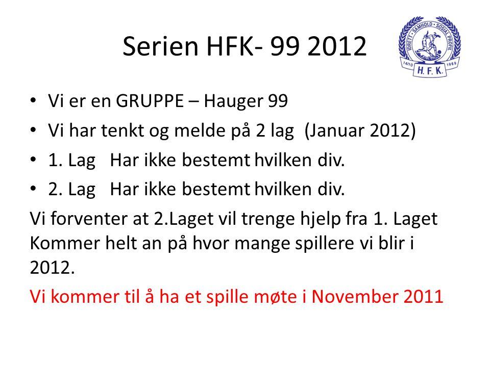 Serien HFK- 99 2012 • Vi er en GRUPPE – Hauger 99 • Vi har tenkt og melde på 2 lag (Januar 2012) • 1. Lag Har ikke bestemt hvilken div. • 2. Lag Har i
