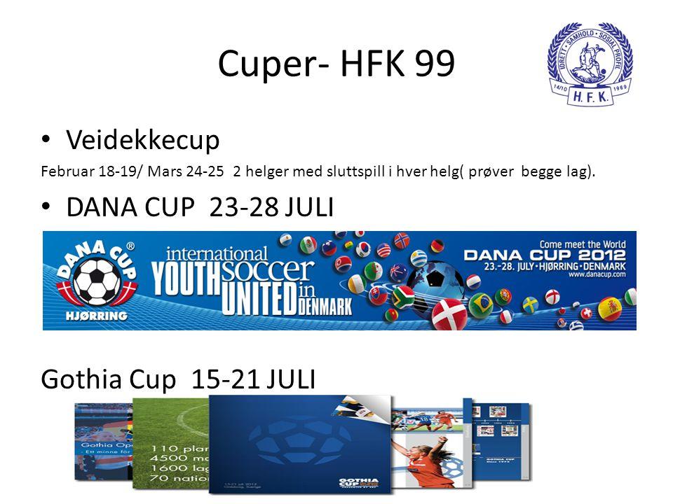 Cuper- HFK 99 • Veidekkecup Februar 18-19/ Mars 24-25 2 helger med sluttspill i hver helg( prøver begge lag). • DANA CUP 23-28 JULI Gothia Cup 15-21 J