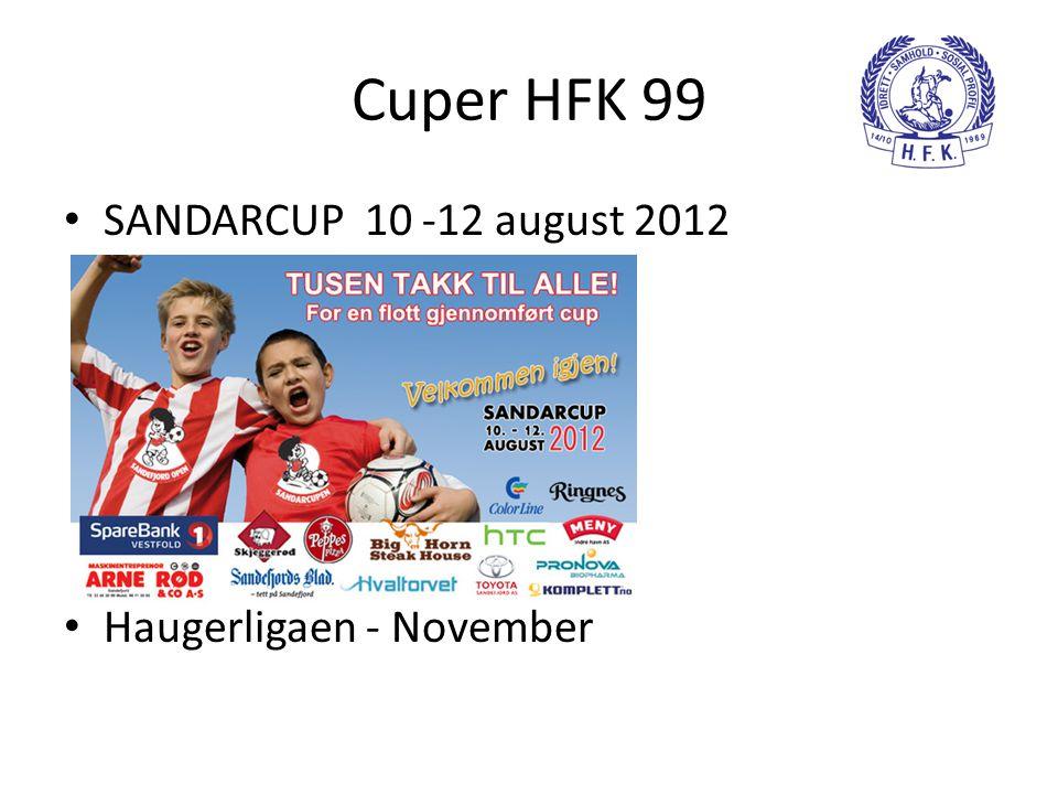 Cuper HFK 99 • SANDARCUP 10 -12 august 2012 • Haugerligaen - November