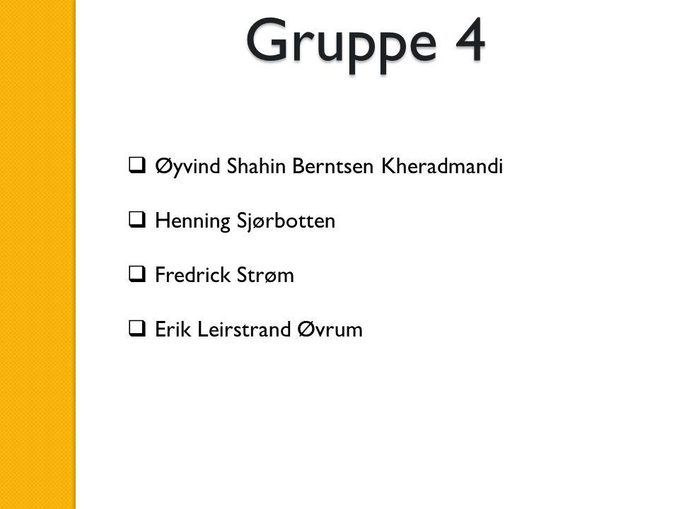  Øyvind Shahin Berntsen Kheradmandi  Henning Sjørbotten  Fredrick Strøm  Erik Leirstrand Øvrum Gruppe 4