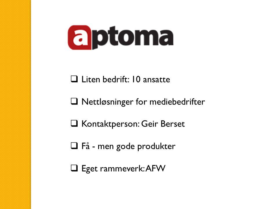  Liten bedrift: 10 ansatte  Nettløsninger for mediebedrifter  Kontaktperson: Geir Berset  Få - men gode produkter  Eget rammeverk: AFW