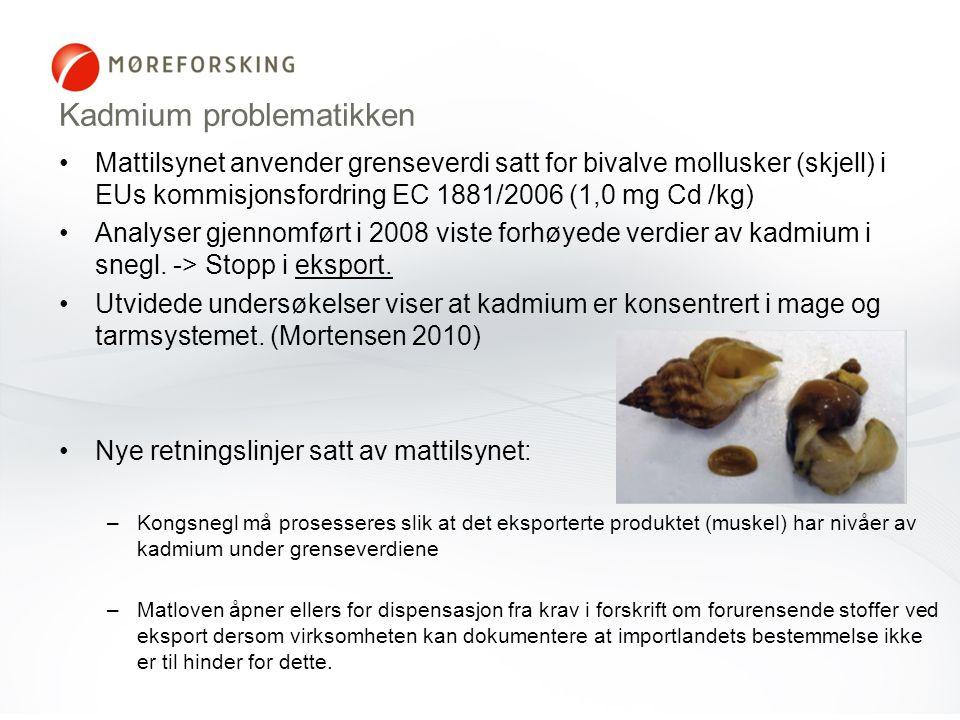 Kadmium problematikken •Mattilsynet anvender grenseverdi satt for bivalve mollusker (skjell) i EUs kommisjonsfordring EC 1881/2006 (1,0 mg Cd /kg) •An