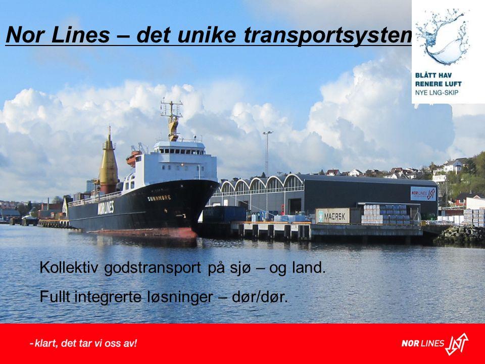 Nor Lines – det unike transportsystem. Kollektiv godstransport på sjø – og land. Fullt integrerte løsninger – dør/dør.