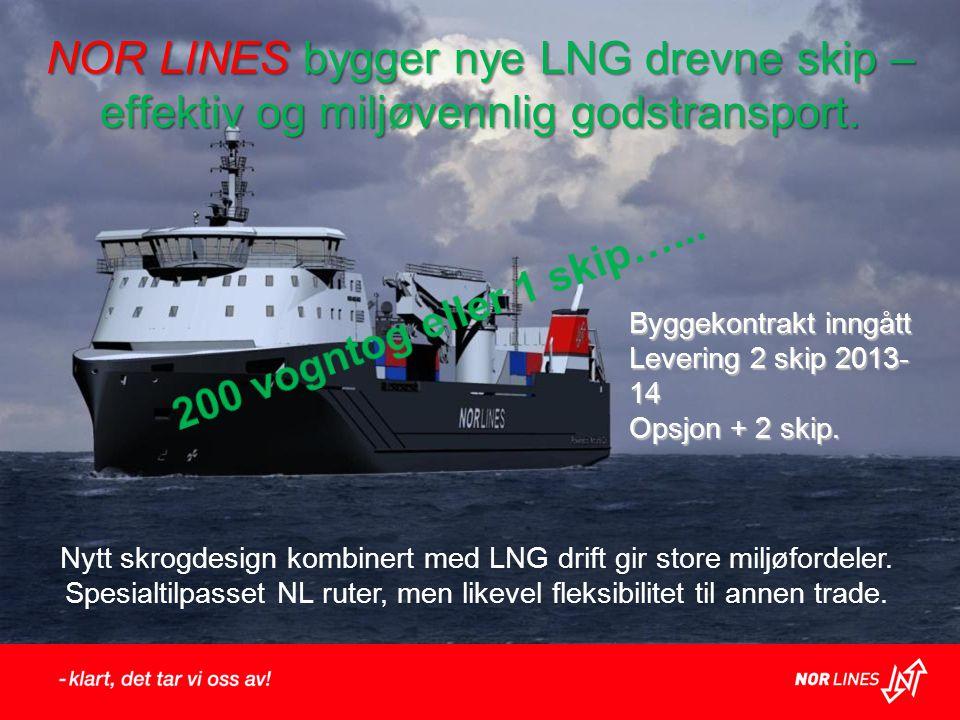 NOR LINES bygger nye LNG drevne skip – effektiv og miljøvennlig godstransport. Byggekontrakt inngått Levering 2 skip 2013- 14 Opsjon + 2 skip. Nytt sk