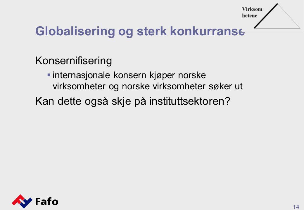 14 Globalisering og sterk konkurranse Konsernifisering  internasjonale konsern kjøper norske virksomheter og norske virksomheter søker ut Kan dette også skje på instituttsektoren
