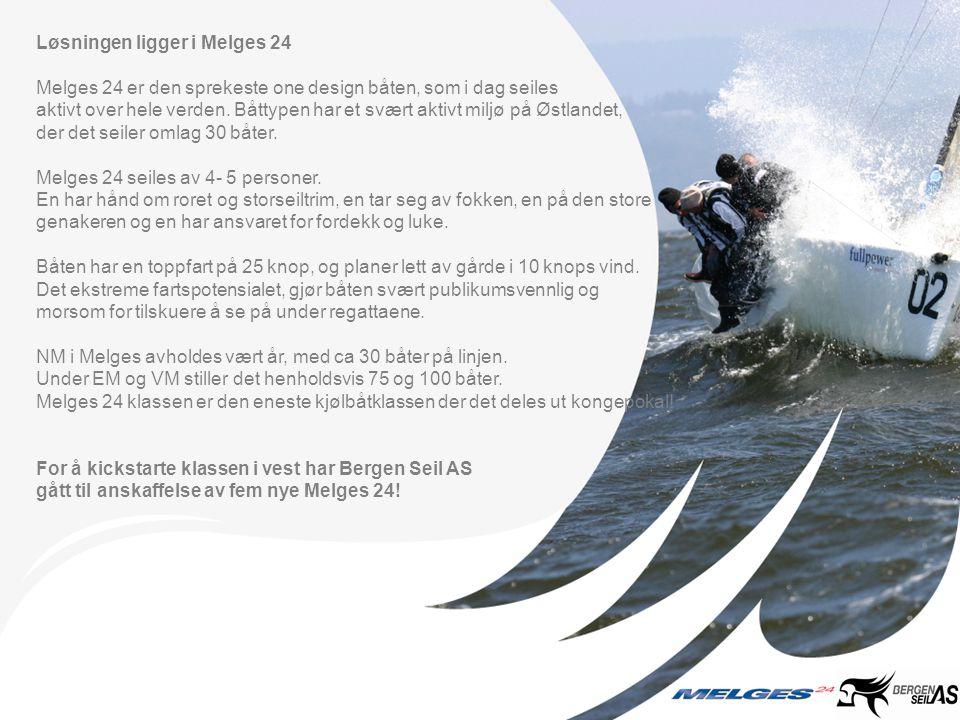 Løsningen ligger i Melges 24 Melges 24 er den sprekeste one design båten, som i dag seiles aktivt over hele verden.