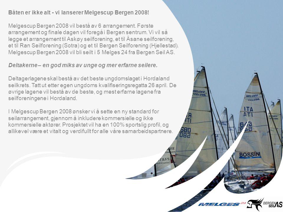 Schedule Ungdomskvalifisering - Kickoff 26 april Sted: Vågen i Bergen/ Byfjorden Fem ungdomslag fra seilforeningene i Bergen konkurrerer om deltagelse i Melgescup Bergen 2008.