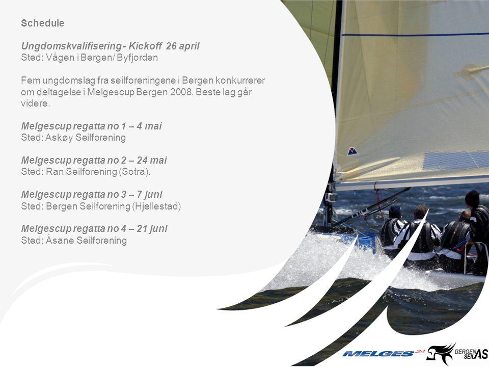 Schedule Ungdomskvalifisering - Kickoff 26 april Sted: Vågen i Bergen/ Byfjorden Fem ungdomslag fra seilforeningene i Bergen konkurrerer om deltagelse