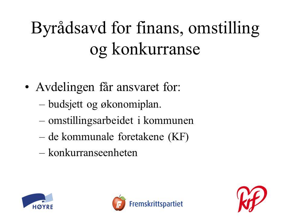 Byrådsavd for finans, omstilling og konkurranse •Avdelingen får ansvaret for: –budsjett og økonomiplan.