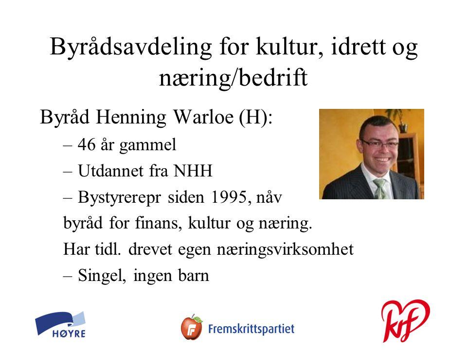 Byrådsavdeling for kultur, idrett og næring/bedrift Byråd Henning Warloe (H): –46 år gammel –Utdannet fra NHH –Bystyrerepr siden 1995, nåv byråd for finans, kultur og næring.