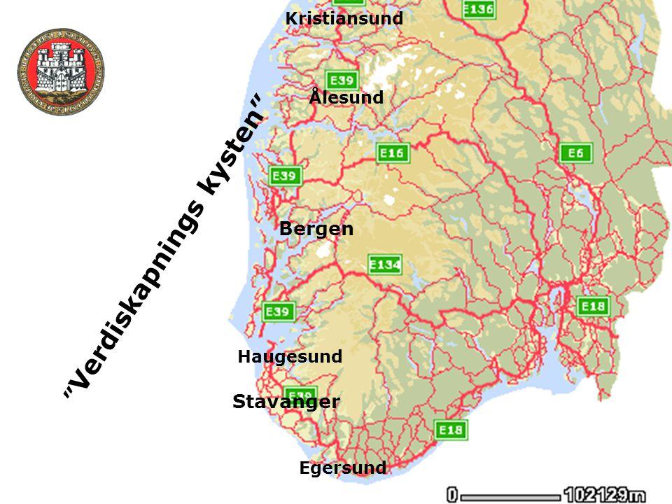 """Bergen Stavanger Egersund Kristiansund """" Verdiskapnings kysten"""" Ålesund Haugesund"""