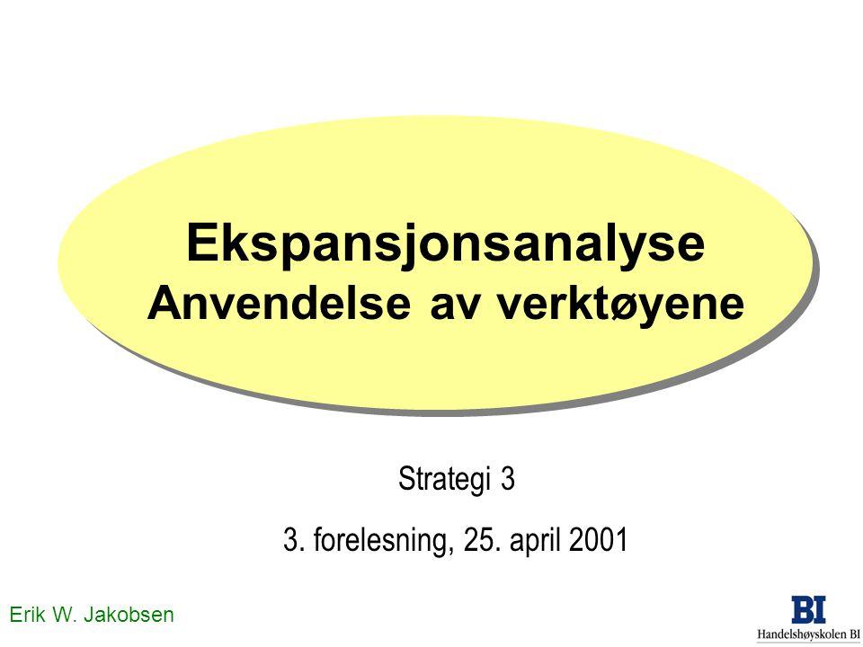 Erik W. Jakobsen Ekspansjonsanalyse Anvendelse av verktøyene Strategi 3 3. forelesning, 25. april 2001