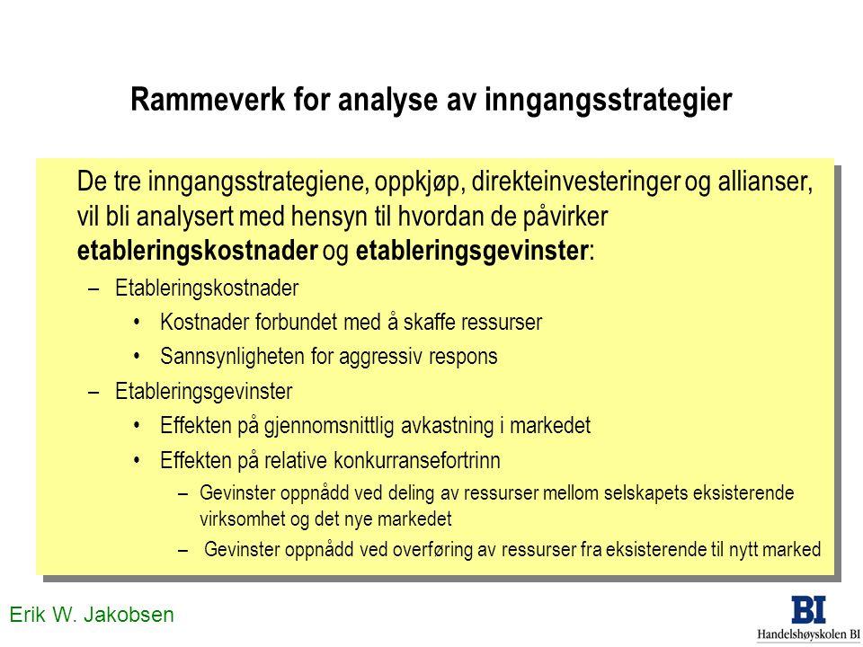 Erik W. Jakobsen Rammeverk for analyse av inngangsstrategier De tre inngangsstrategiene, oppkjøp, direkteinvesteringer og allianser, vil bli analysert