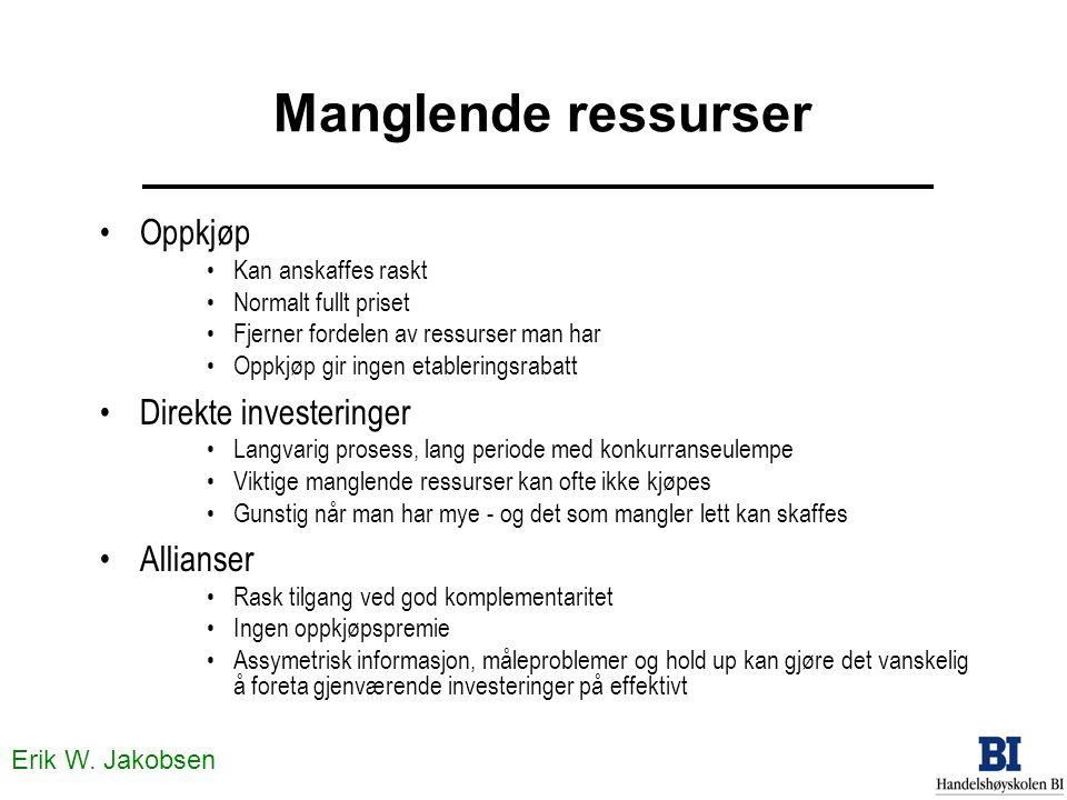 Erik W. Jakobsen Manglende ressurser •Oppkjøp •Kan anskaffes raskt •Normalt fullt priset •Fjerner fordelen av ressurser man har •Oppkjøp gir ingen eta
