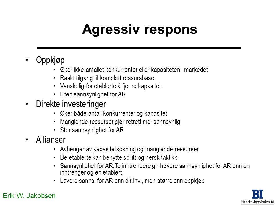 Erik W. Jakobsen Agressiv respons •Oppkjøp •Øker ikke antallet konkurrenter eller kapasiteten i markedet •Raskt tilgang til komplett ressursbase •Vans
