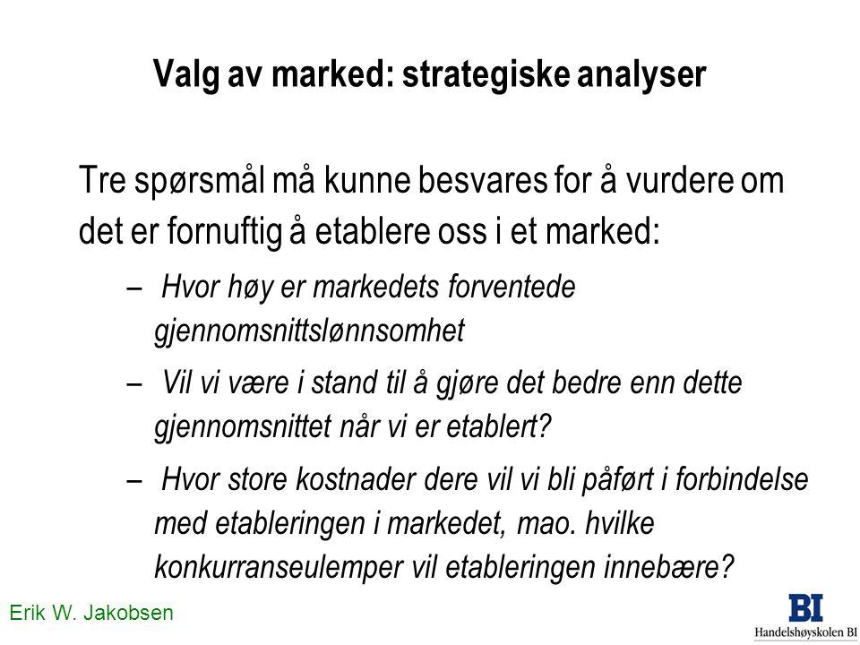 Erik W. Jakobsen Valg av marked: strategiske analyser Tre spørsmål må kunne besvares for å vurdere om det er fornuftig å etablere oss i et marked: – H
