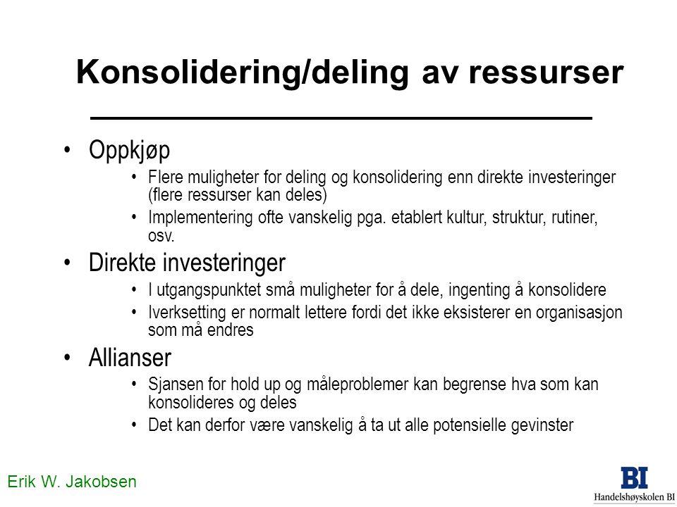 Erik W. Jakobsen •Oppkjøp •Flere muligheter for deling og konsolidering enn direkte investeringer (flere ressurser kan deles) •Implementering ofte van