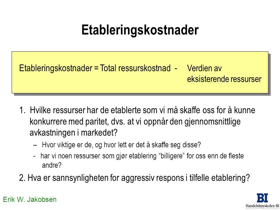 Erik W. Jakobsen Etableringskostnader 1. Hvilke ressurser har de etablerte som vi må skaffe oss for å kunne konkurrere med paritet, dvs. at vi oppnår