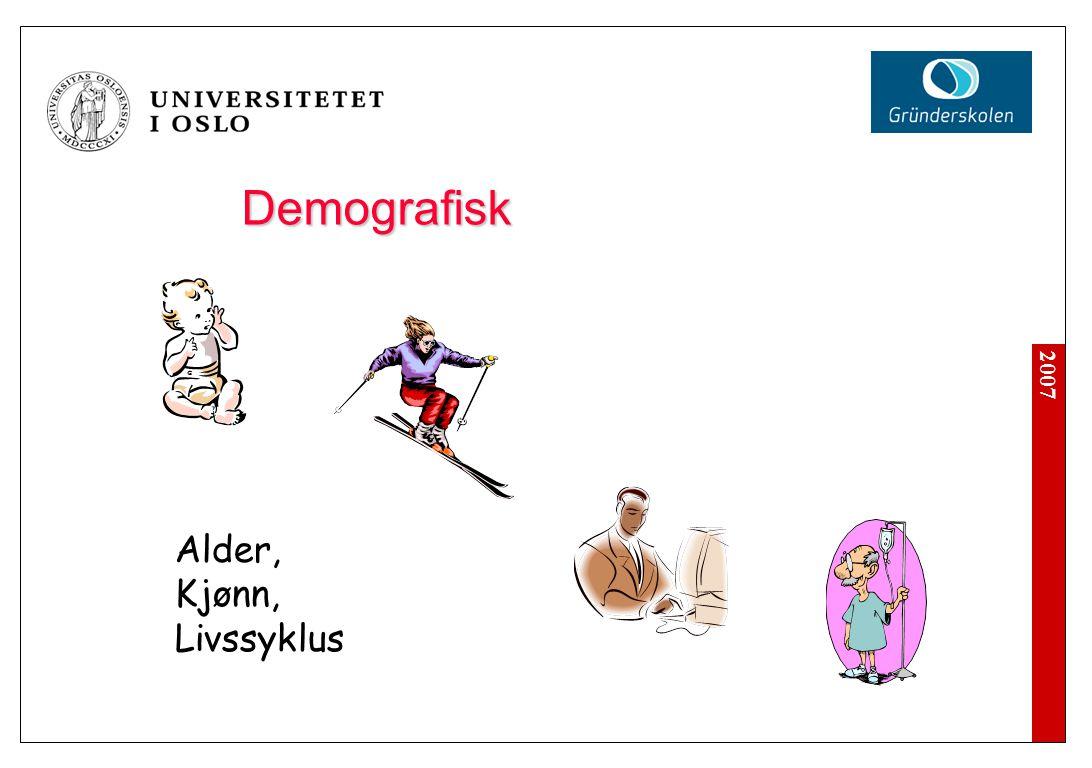2007 Demografisk Alder, Kjønn, Livssyklus