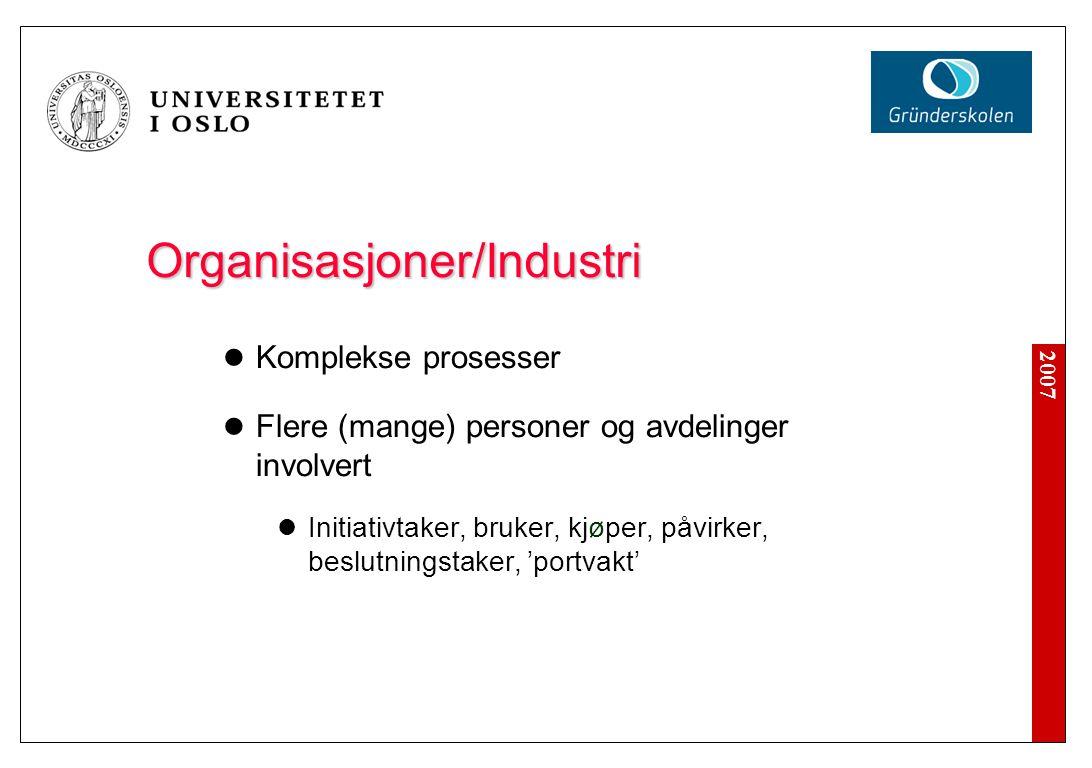 2007 Organisasjoner/Industri  Komplekse prosesser  Flere (mange) personer og avdelinger involvert  Initiativtaker, bruker, kjøper, påvirker, beslut