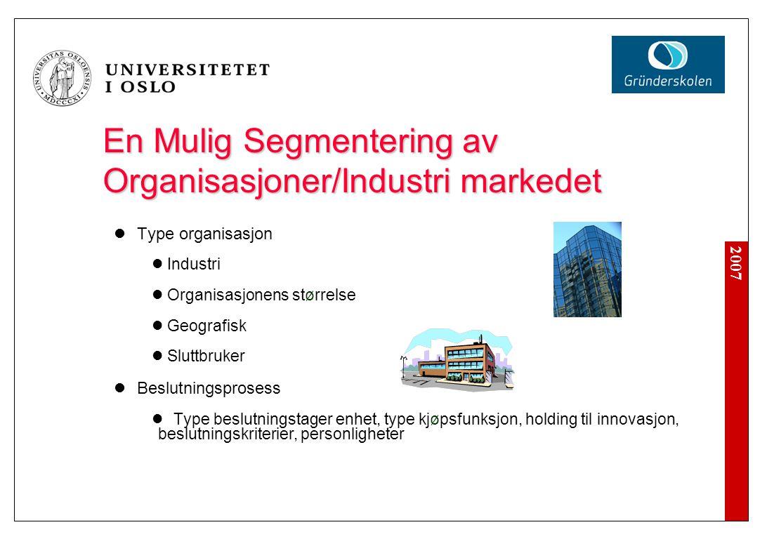 2007 En Mulig Segmentering av Organisasjoner/Industri markedet  Type organisasjon  Industri  Organisasjonens størrelse  Geografisk  Sluttbruker 