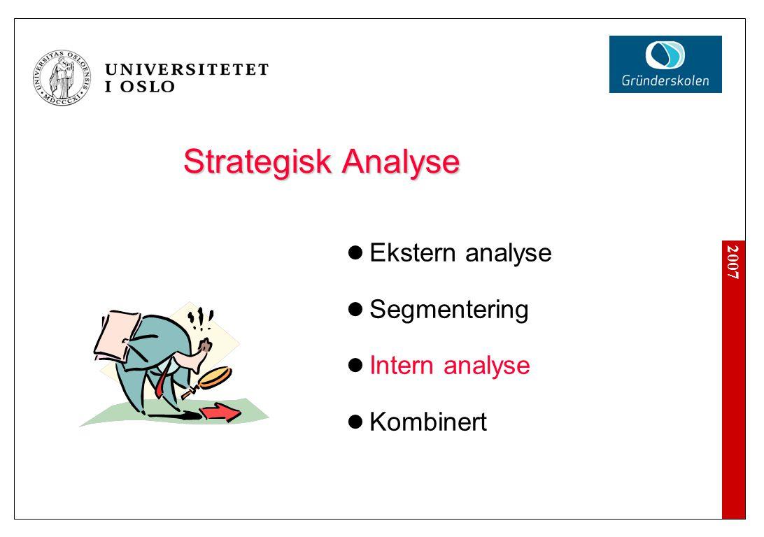 2007 Strategisk Analyse  Ekstern analyse  Segmentering  Intern analyse  Kombinert