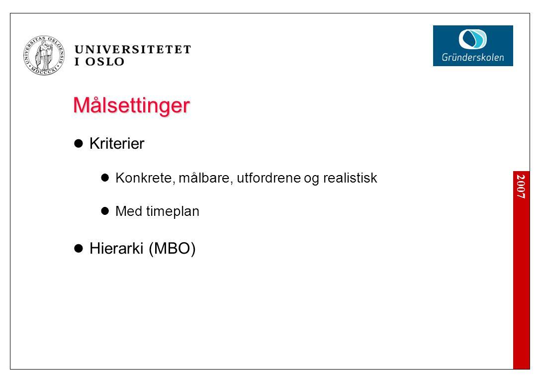 2007 Målsettinger  Kriterier  Konkrete, målbare, utfordrene og realistisk  Med timeplan  Hierarki (MBO)