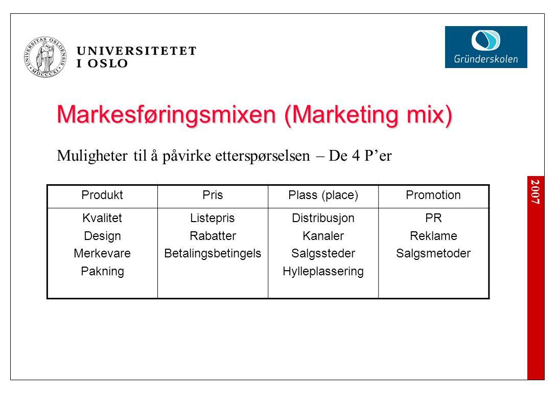 2007 Markesføringsmixen (Marketing mix) ProduktPrisPlass (place)Promotion Kvalitet Design Merkevare Pakning Listepris Rabatter Betalingsbetingelser Di
