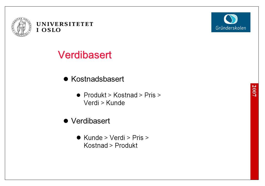 2007 Verdibasert  Kostnadsbasert  Produkt > Kostnad > Pris > Verdi > Kunde  Verdibasert  Kunde > Verdi > Pris > Kostnad > Produkt