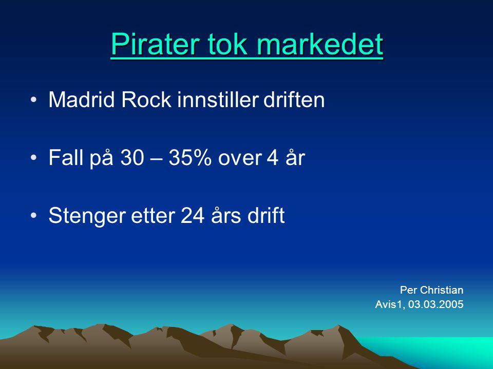 Pirater tok markedet Pirater tok markedet •Madrid Rock innstiller driften •Fall på 30 – 35% over 4 år •Stenger etter 24 års drift Per Christian Avis1,