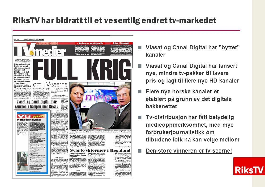"""03.07.2014 / 14 RiksTV har bidratt til et vesentlig endret tv-markedet  Viasat og Canal Digital har """"byttet"""" kanaler  Viasat og Canal Digital har la"""
