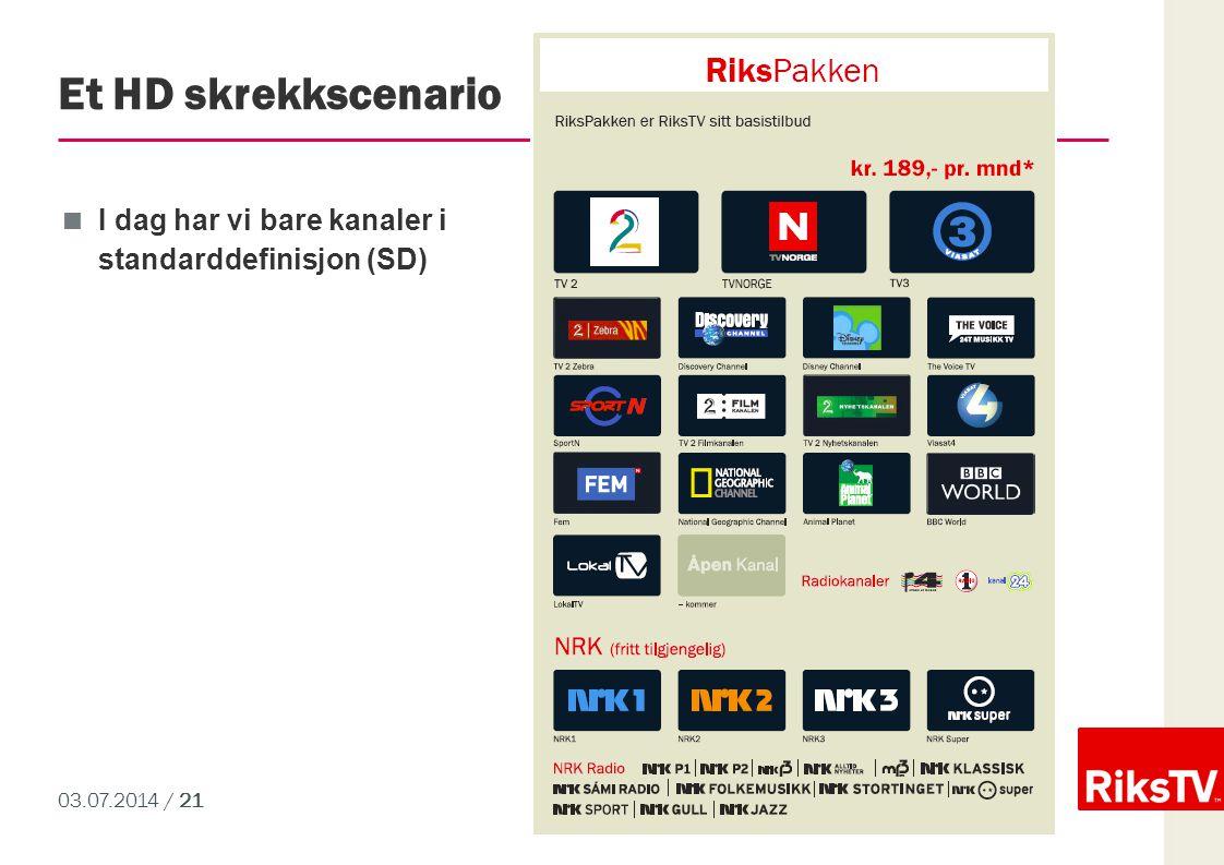 03.07.2014 / 21 Et HD skrekkscenario  I dag har vi bare kanaler i standarddefinisjon (SD)